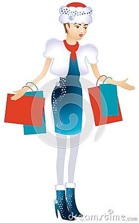A rapariga em um tampão do Natal com pacotes