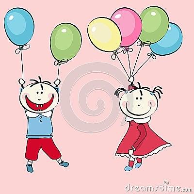 Rapaz pequeno feliz, vôo da menina com os balões