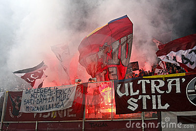 Rapid Bucharest Football Fans Editorial Photography