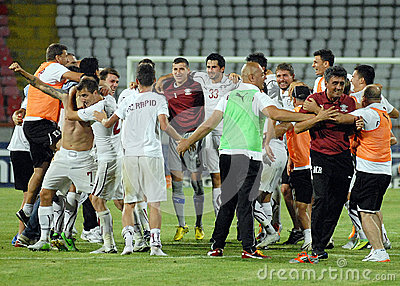 Rapid Bucharest players celebrate victory Editorial Stock Image