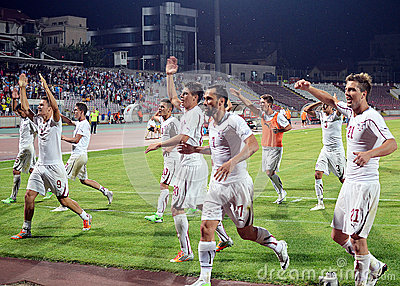 Rapid Bucharest players celebrate victory Editorial Photography