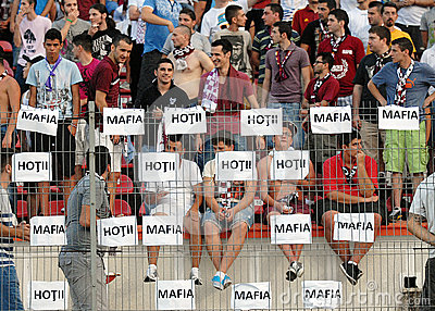 Rapid football fans with messages against Romanian Football Federation Editorial Stock Photo