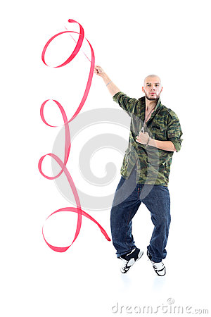 Rapper in camouflage jacket with ribbon stands on tiptoes