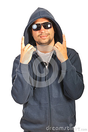 Rapper male gesturing with fingers