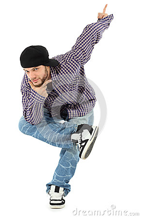 Rapper stands on one leg, props chin by hand
