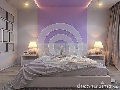 Rappresentazione 3d dell'interior design della camera da letto in ...