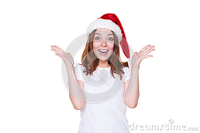 Rapturous young woman in santa hat