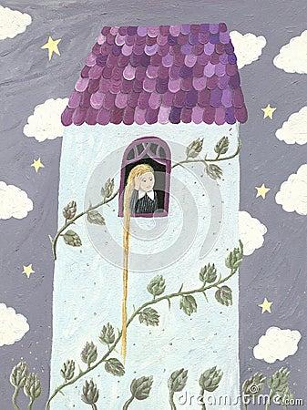 Rapunzel of meisje die door venster kijken