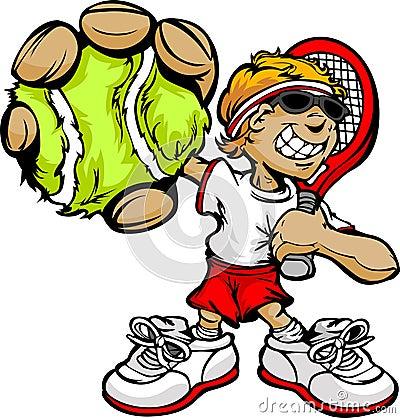 Raquete e esfera da terra arrendada do jogador de ténis do miúdo