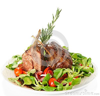 Rare fried rack of lamb  on white
