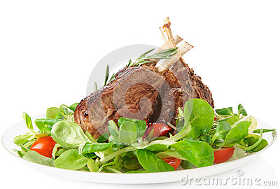 Rare fried rack of lamb  on white