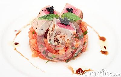 Rare fried tuna on tomato tartare