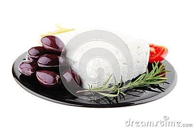 Rare olives and feta cube