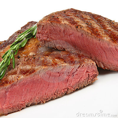 Rare Rib-Eye Steak Close-up