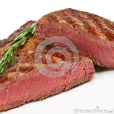 Rare Rib-Eye Steak Close-up