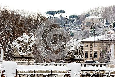 Rare snowfall in Rome.