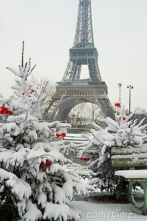 Free Rare Snowy Day In Paris Stock Photography - 12224772