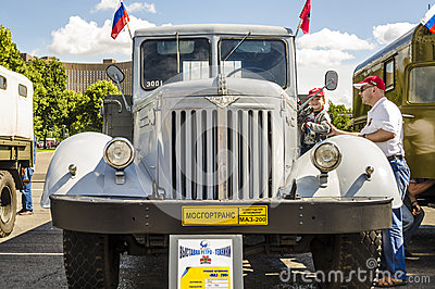 Rare Soviet Russian Cargo truck brand GAZ Editorial Stock Image