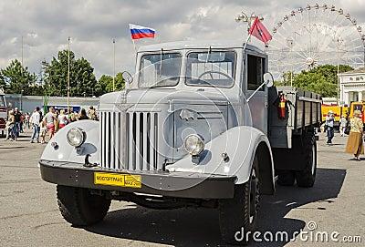 Rare Soviet Russian Cargo truck brand GAZ Editorial Photo