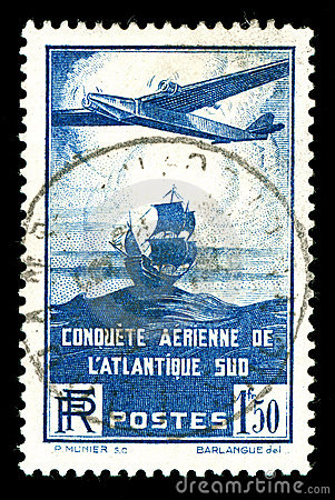 Rare vintage French aircraft stamp
