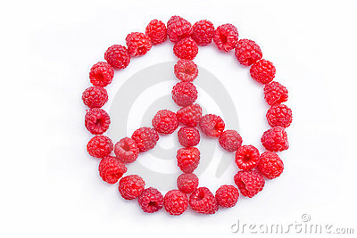 Raspberries arranged in the shape of the symbol of