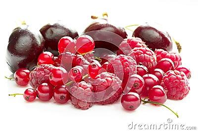 Raspberries, currants and cherries