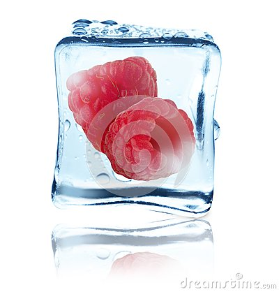 Free Raspberries Frozen In Ice Cube, Isolated Royalty Free Stock Photo - 104254835