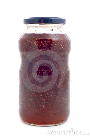 Raspberries jam glass jar
