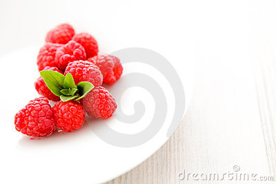 Raspberries with mint
