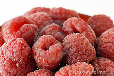 Raspberries up close
