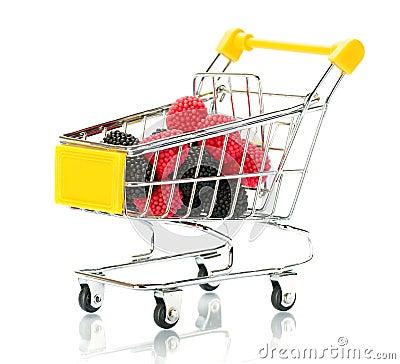 Raspberry blackberry fruit in the shopping cart