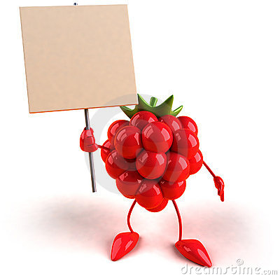 Raspberry with a blank sign