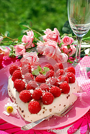 Raspberry cake in heart shape
