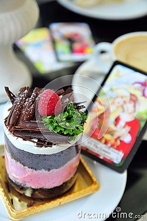 Raspberry cake with tarot card