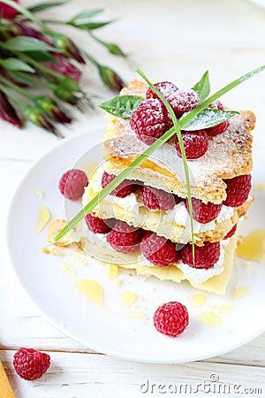 Raspberry dessert with cream air, millefeuille