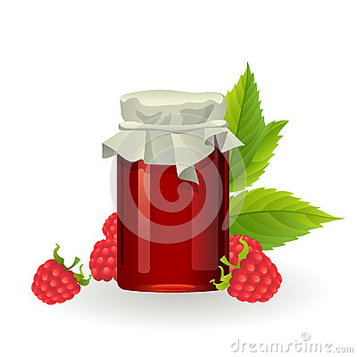 Raspberry jam with fresh raspberries