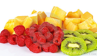 Raspberry And Kiwi With Cantaloupe