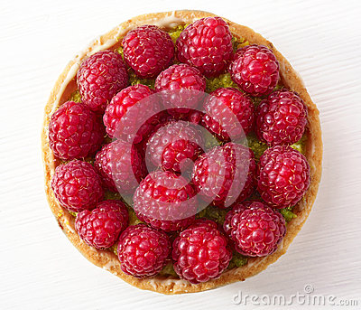 Raspberry and pistachios tart cake Stock Photo
