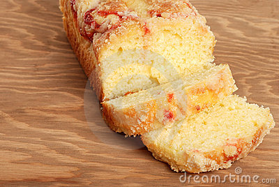 Raspberry pound cake on a cutting board