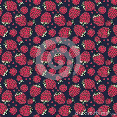Free Raspberry Seamless Pattern. Hand Drawn Fresh Berry. Vector Sketch Background. Doodle Wallpaper. Red, Dark Blue And Green Print Stock Photo - 139712540