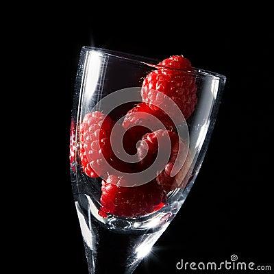 Raspberry in a wine-glass
