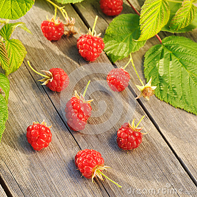 Raspberry on wooden table