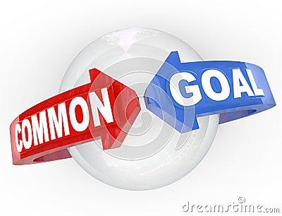 Rassemblement de flèches de l objectif commun deux