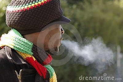 Rasta man and smoke
