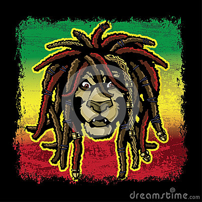 Rasta Lion With Dreads Rastafarian lion with