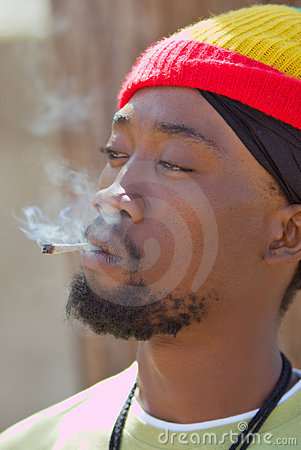 Rastafarian smoking cannabis