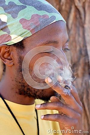 Rastafarian smoking cannabis