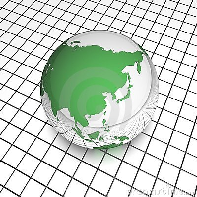 Raster asia globe