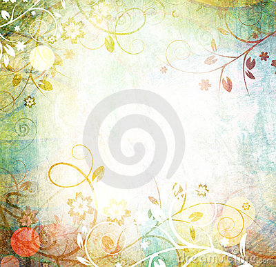 Raster floral grunge background