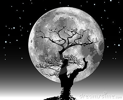 Raster moon illustration and tree